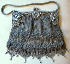 Antique Art Nouveau G Silver Elaborate Frame Fancy Floral Chain Mail Mesh Purse #EveningBag