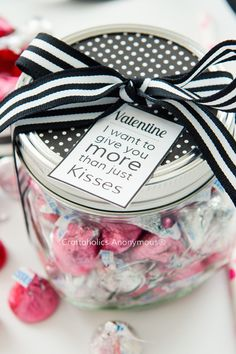 Romantic Mason Jar Valentine with Free Printable || Perfect for Him! Valentine's Day gift idea.