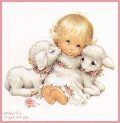 Baby girl card artwork Ruth Morehead animared