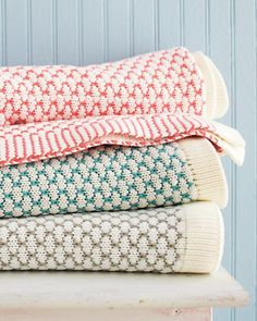Weekend Knit Throw from Garnet Hill - love the coral