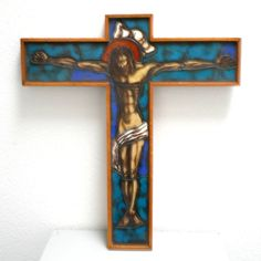 XL Art Deco Crucifix Cross H51cm, Handpainted Stained Opaline Glass Artisan Handcrafted Jesus Christ Christian Catholic Wall Decor Turquoise Blue Color, Spiritual Gifts, Opaline, Art Deco Design, Religious Art, Crucifix, Unique Art, Jesus Christ, Catholic