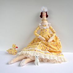 Fabric Doll rag doll in yellow dress and lace ♡ by CherryGardenDolls