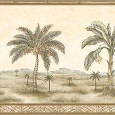 Brewster Olive Palm Tree Border Wallpaper