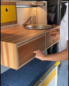 Van Conversion Interior, Camper Van Conversion Diy, Van Interior, Camper Interior, Camper Furniture, Space Saving Furniture, Kitchen Furniture, Woodworking Plans, Woodworking Projects