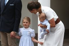 Crown Princess Victoria of Sweden Prince Oscar of Sweden Princess Estelle of Sweden and Prince Daniel of Sweden arrive for Birthday celebrations of...