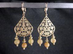 Chandelier Earrings - Wedding Jewelry - Golden Filigree and Yellow Bead Chandelier Earrings (Item # 1571) by BrandwearerBoutique on Etsy