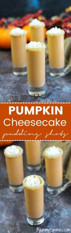 Drink your dessert with these Pumpkin Cheesecake Pudding Shots with vanilla ice . Drink your dessert with these Pumpkin Cheesecake Pudding Shots with vanilla ice cream. Best Cocktail Recipes, Best Dessert Recipes, Fun Desserts, Delicious Desserts, Cheesecake Pudding, Pumpkin Cheesecake, Cheesecake Recipes, Pumpkin Recipes, Fall Recipes