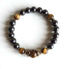 Bringing Courage to One ~ Genuine Hematite & Tiger Eye Bracelet w/ Vermeil Spacers and Caps