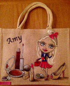 Emily-em Original Bag Designs. Personalised, hand painted Jute bags. Girl about Town #personalisedJuteBag