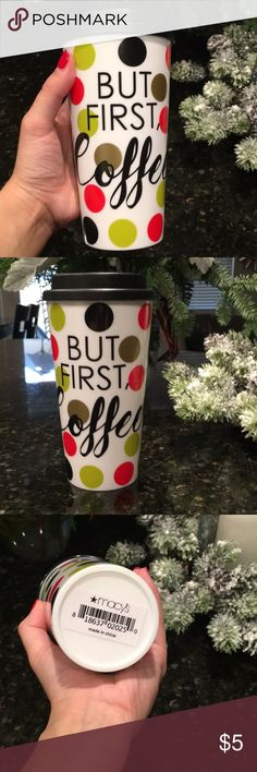 """NWT BUT FIRST, COFFEE thermal cup ☕️ """"But First, Coffee"""" thermal cup. So cute! Never used, brand new. Red, black, gold & green Polka dots... brand new from Macy's. Black plastic twist cap. Perfect for your coffee or hot chocolate. Macy's Other"""