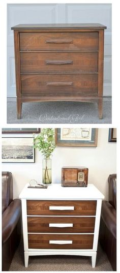 Top 60 Furniture Makeover DIY Projects - The next time you are shopping in your local thrift store and see that old chest of drawers, buy it. You can completely remake it into something that will look beautiful in the living room with just a little white paint.