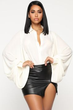 Not To be Dramatic Button Down Top - Ivory – Fashion Nova Dope Outfits, Skirt Outfits, Fall Outfits, Black Women Fashion, Womens Fashion, White Fashion, Hispanic Women, Fashion Nova Models, Leather Dresses