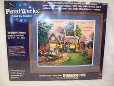 NEW SEALED Dimensions Paint Works Twilight Cottage Paint By Numbers Kit #PaintWorks