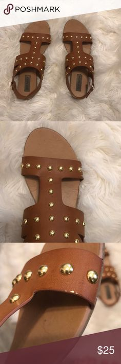 Steve Madden Brown With Gold Studs Sandals Only worn a few times Steve Madden Shoes Sandals
