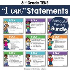 """3rd Grade TEKS I Can Statements Bundle 