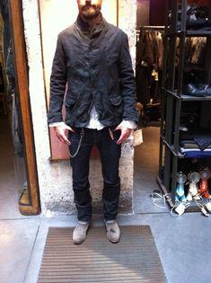 Paul Harnden Chamois Leather Pocket Blazer: Black 'Anthracite' : Sz M | Import Workwear
