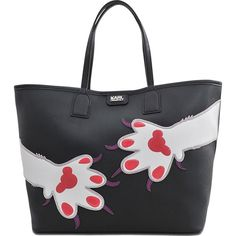 Karl Lagerfeld Choupette Love Shopper Paw Tote ($315) ❤ liked on Polyvore featuring bags, handbags, tote bags, black, shopper purses, black purse, shopper tote handbags, pouch purse and karl lagerfeld handbags