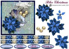 Here is a beautiful Christmas Scenery with Christmas trees in the background, a beautiful Christmas ornament with layered baubles, and finally a blue poinsettia with four layers.Four tags and two borders are included.