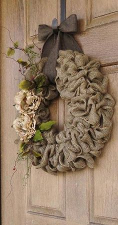 Burlap Wreath with Beige Peony flowers--Burlap Wreath with Earth Tone Flowers and Accents--Burlap Wreath--Year Round Burlap Wreath--Add decorations for the fall and winter by shelley