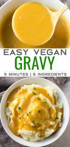 Vegan Gravy - Do you have 5 minutes? Then you have time to make EASY VEGAN GRAVY! 6 ingredients, so simple. -Easy Vegan Gravy - Do you have 5 minutes? Then you have time to make EASY VEGAN GRAVY! 6 ingredients, so simple. - Flavorful, tangy and crun. Vegan Sauces, Vegan Foods, Whole Foods, Whole Food Recipes, Dinner Recipes, Meal Recipes, Tofu Recipes, Family Recipes, Pumpkin Recipes