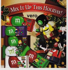 2009 magazine ad M&M's HOLIDAY CANDY MIX #2 mms M&M red yellow advertisement