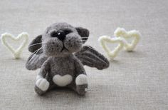 Needle felted Angel Cat MADE TO ORDER Needle by NeighborKitty