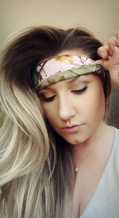 Reversible Realtree Camo & Pink Camo single headband by TheWoodenAntler on Etsy