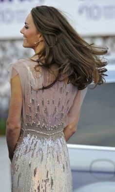 Kate Middleton. Back. Hair. Jenny Packham dress.
