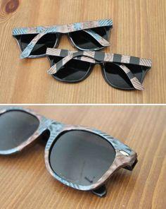 Make your own tortoise shell sunglasses using magnetic nail polish.