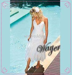 Wholesale Custom 2013 Hottest Charming A Line Halter Appliques Ruffles Chiffon Tea Length Beach Wedding Dresses Sexy Beach Bridal Dresses Lowest Price, Free shipping, $137.5/Piece | DHgate