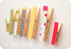 Clothes pin magnets... with scrapbook paper (tutorial) Love the cherry one!