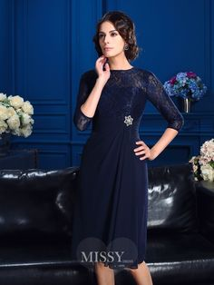 A-Line/Princess Jewel Lace Sleeves Knee-Length Chiffon Mother of the Bride Dresses SunnyDressy Short Mothers Dress, Mother Of The Bride Dresses Long, Mothers Dresses, Mother Bride, Tea Length Dresses, Short Dresses, Dresses With Sleeves, Short Sleeves, Robes D'occasion