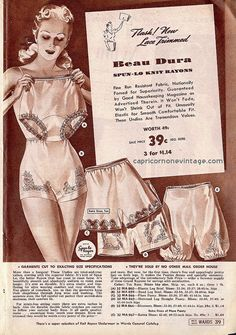 Spun Lo panties in rayon in various styles Vintage Advertisements, Vintage Ads, Vintage Posters, Vintage Trends, Classic Lingerie, Retro Lingerie, Luxury Lingerie, 1940s Fashion, Vintage Fashion