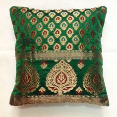 Decorative Silk Pillow Cover - Handmade Throw Pillow / Cushion Cover - Banaras Silk Cushion Cover in Emerald Green $19
