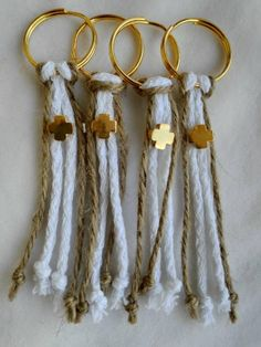 10 pcs Martyrika (Witness pins) for Greek Orthodox Baptism ceremony.   DETAILS:  Handmade with a white cotton textured rope and natural color linen cord. They are attached to a gold tone keychain. The keychain is decorated with a gold tone metallic cross.   DIMENSIONS:  Τhe length of this needle Summer Camp Crafts, Camping Crafts, Baptismal Giveaways, First Communion Favors, Baptism Decorations, Cotton Texture, Baby Christening, Etsy Crafts, Jewelry Crafts