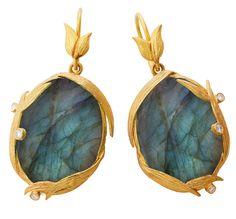 Laurie Kaiser's Lemongrass Labradorite & Diamond Earrings
