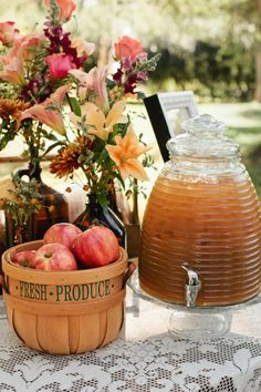 Fall party with apples and apple cider..