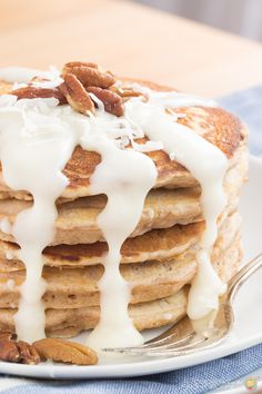 Looking for a great pancake recipe?  These Cinnamon Roll pancakes will disappear before your eyes and quickly become a family favorite!  And that glaze is to die for!