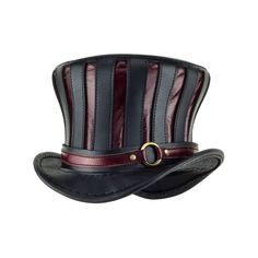 """Mad Hatter"" Black And Red Flared Tall Top Hat With Red Ring Band"
