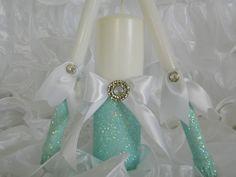 Wedding Centerpiece Wedding Decoration Unity Candle by KPGDesigns Aqua Wedding, Tiffany Wedding, Diy Wedding, Dream Wedding, Wedding Day, Sand Candles, Wedding Unity Candles, Wedding Centerpieces, Wedding Decorations