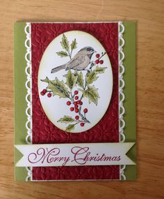 Stampin Up handmade Christmas card -beautiful Christmas berry with bird