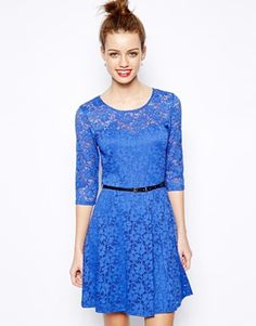 New Look 3/4 Sleeve Lace Skater Dress, ASOS