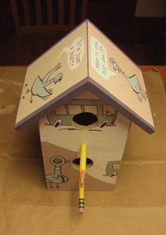 birdhouse made (by me) from Don't Let the Pigeon Drive the Bus by Mo Willems