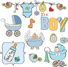 Imagens semelhantes a 10445718 Baby boy shower elements set isolated on white background Clipart Baby, Baby Shower Clipart, Baby Boy Background, Baby Motiv, Baby Boy Cards, New Baby Announcements, Baby Clip Art, Boy Pictures, Baby Cartoon