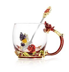 Amazon.com | Tea Cup Coffee Mug Cups Clear Glass & Spoon Handmade Butterfly Rose, 12 oz (Rose): Coffee Cups & Mugs