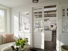 Love these French style pocket doors as room dividers. Nice alternative to standard French doors and would save on space! Country House Interior, House Design, House, French Doors, Home, House Styles, New Homes, House Interior, Home Interior Design