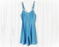Vintage 90s Denim Overalls Romper Shorts Lace by PopFizzVintage, $39.00