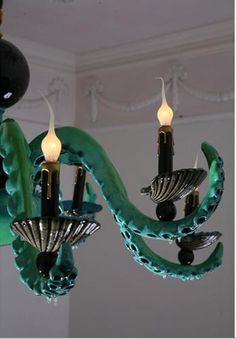 I want this in my sea inspired dining room! Octopus Lamp, Octopus Decor, Seashore Decor, Leagues Under The Sea, Under The Sea Party, Cabins In The Woods, Diy Dollhouse, Victorian Gothic, Coastal Decor