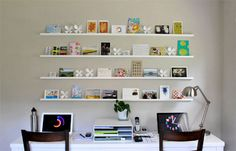 DIY art/postcard display shelving.  Pretty neat.  We've got PLENTY of blank walls screaming for something like this.