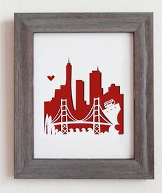This is a cut out city scape of San Francisco, CA and the Golden Gate Bridge. Perfect for gift or for your home decoration! This is a cutout Kirigami, Diy Father's Day Gifts, Father's Day Diy, Cut Out Art, Paper Art, Paper Crafts, Scrap, Paper Background, Paper Cutting
